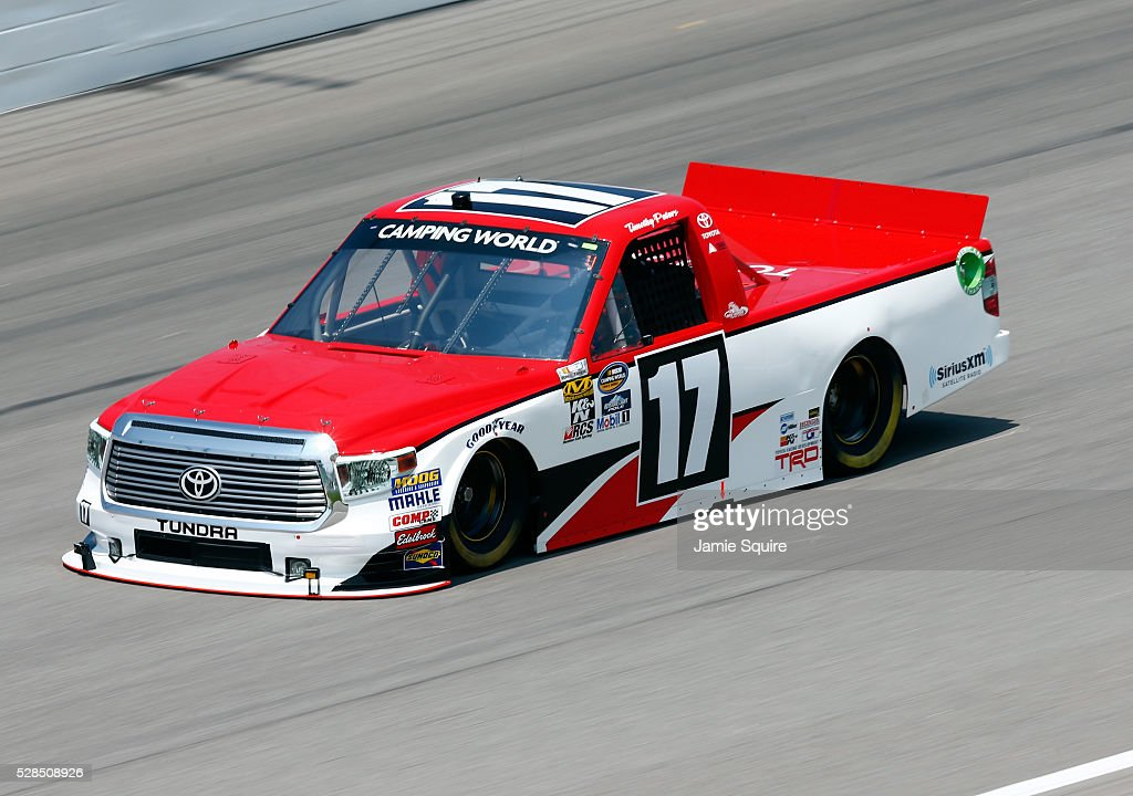 Timothy Peters, driver of the #17 Red Horse Racing Toyota, practices for the NASCAR Camping World Truck Series 16th Annual Toyota Tundra 250 on May 05, 2016 in Kansas City, Kansas.