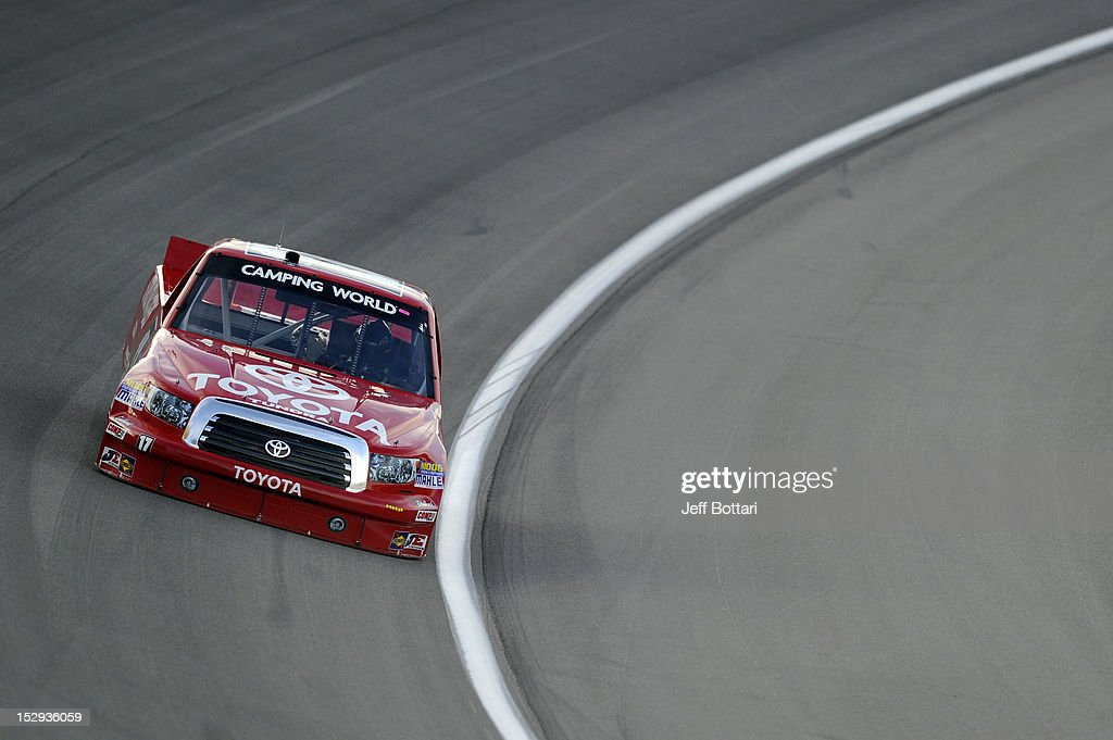 Timothy Peters, driver of the #17 Toyota/Red Horse Racing Toyota, drives during practice for the NASCAR Camping World Truck Series Smith's 350 race at Las Vegas Motor Speedway on September 28, 2012 in Las Vegas, Nevada.