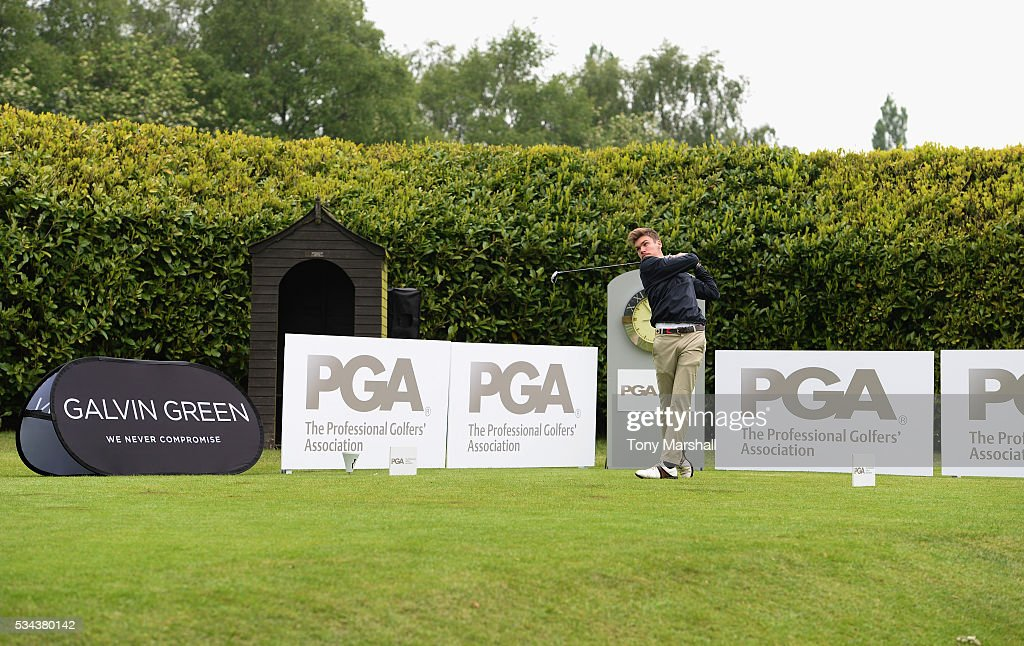 Timothy Shephard of Bransford Golf Club plays his first shot on the 1st tee during the PGA Assistants Championships - Midlands Qualifier at the Coventry Golf Club on May 26, 2016 in Coventry, England.