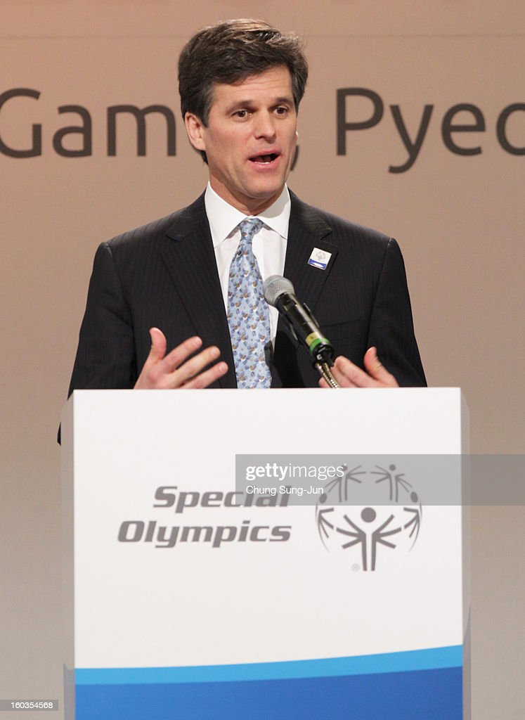 Timothy Shriver, CEO of Special Olympic attends Global Development Summit on the sideline of the Pyeongchang Special Olympic on January 30, 2013 in Pyeongchang-gun, South Korea. Aung San Suu Kyi, Myanmar's opposition leader and Nobel Peace Prize laureate is on a 5-day tour to South Korea.