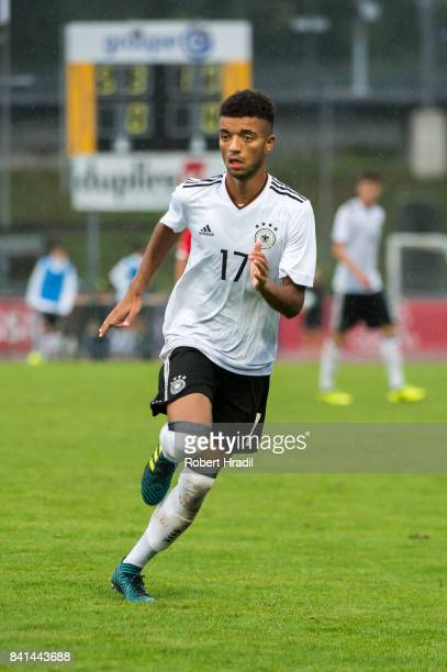 Timothy Tillman in action during the U20 international friendly match between U19 Switzerland and U19 Germany on August 31 2017 at Stade SaintLonard...