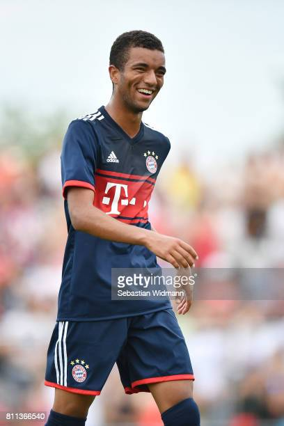 Timothy Tillman of FC Bayern Muenchen laughs during the preseason friendly match between FSV ErlangenBruck and Bayern Muenchen at Adi Dassler...