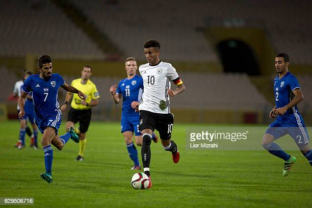 Timothy Tillman of Germany challenges Ori Zohar of Israel during the Under 18 International Friendly match between Israel and Germany on December 13...