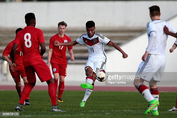 Timothy Tillman of Germany has an attempt on goal during the UEFA Under17 match between U17 England v U17 Germany on February 7 2016 in Lagos Portugal
