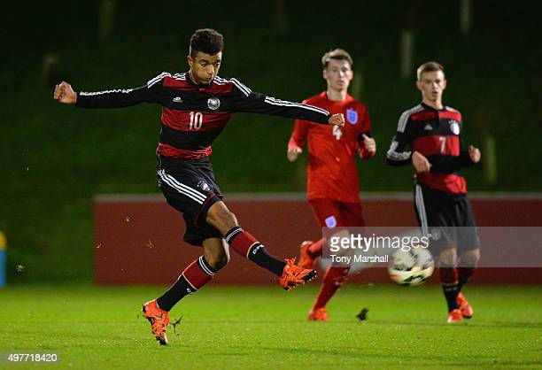 Timothy Tillman of Germany shoots at goal during the U17s International Friendly match between England U17 and Germany U17 at St Georges Park on...