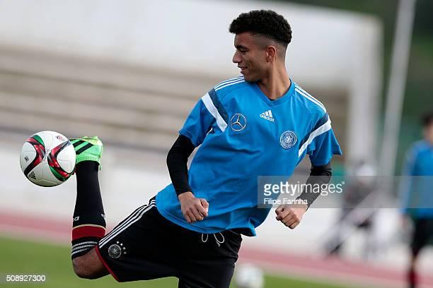 Timothy Tillman of Germany warming up during the UEFA Under17 match between U17 Netherlands v U17 Germany on February 5 2016 in Vila Real de Santo...