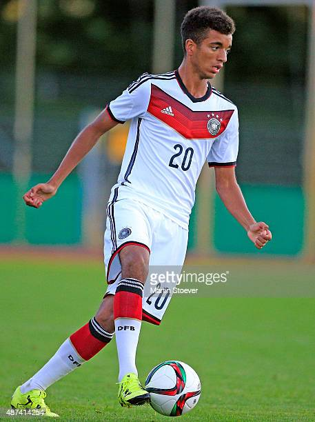 Timothy Tillmann of U17 Germany plays the ball during the match between U17 Germany v U17 Italy at Weserstadion 'Platz 11' on September 9 2015 in...