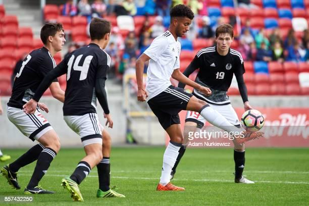 Timothy Tillmann of U19 Germany controls the ball during soccer match U19 Germany v U19 Belarus UEFA Under19 Euro Qualifier on October 4 2017 in...