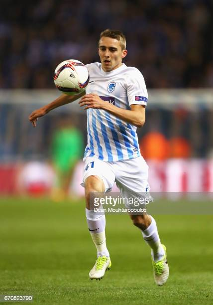 Timoty Castagne of Genk in action during the UEFA Europa League quarter final second leg between KRC Genk and Celta Vigo at Luminus Arena on April 20...