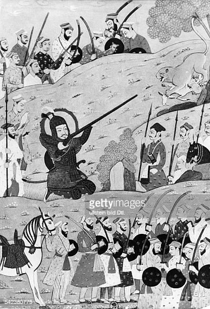 Timur Mongolischer Herrscher*13361405Timur auf der Jagd indische Miniatur von Mir Mohammed