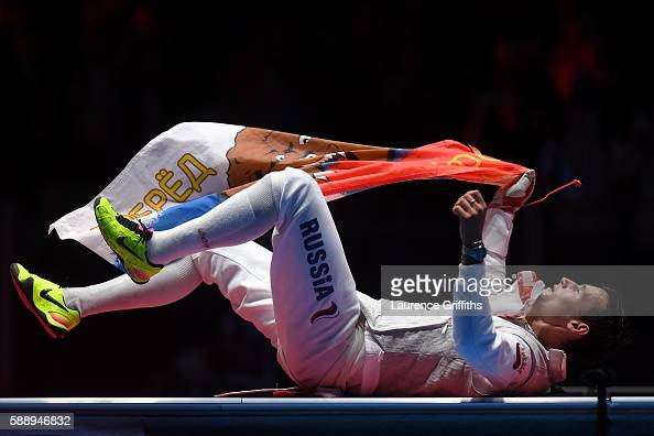 Timur Safin of Russia celebrates winning gold in the Men's Team Foil event on Day 7 of the Rio 2016 Olympic Games at Carioca Arena 3 on August 12...