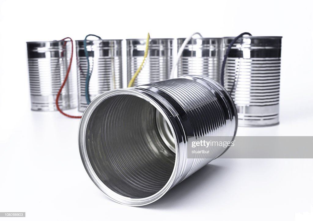 tin can telephone exchange : Stock Photo