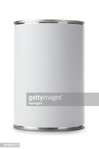 Tin can with a blank label on a white background