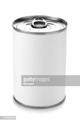 Tin can with a peel lid on a white background