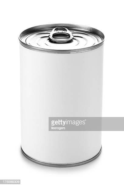 Tin kann mit einem Peeling Deckel auf weißem Hintergrund