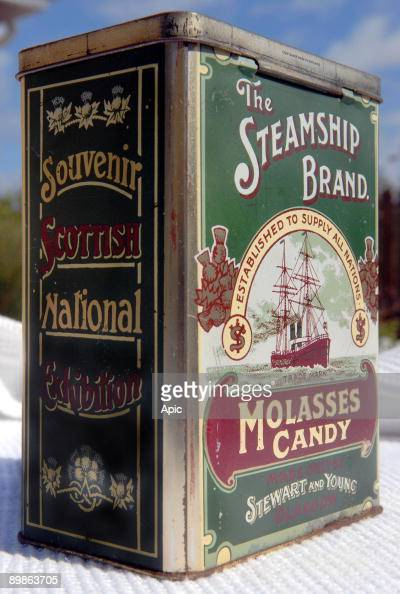 Tin for molasses candy The Steamship Brand made only by Stewart and Young in Glasgow souvenir of Scottish National Exhibition