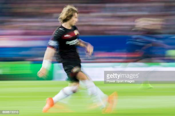Tin Jedvaj of Bayer 04 Leverkusen in action during their 201617 UEFA Champions League Round of 16 second leg match between Atletico de Madrid and...