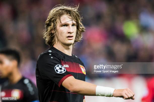 Tin Jedvaj of Bayer 04 Leverkusen looks on during their 201617 UEFA Champions League Round of 16 second leg match between Atletico de Madrid and...