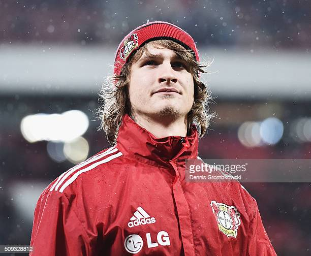 Tin Jedvaj of Bayer Leverkusen looks on prior to kickoff during the DFB Cup Quarter Final match between Bayer Leverkusen and Werder Bremen at...
