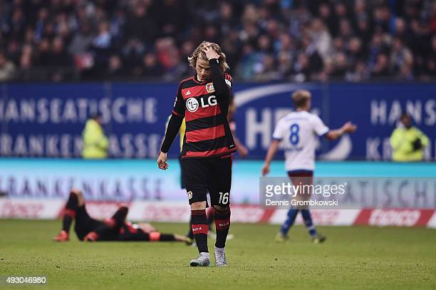 Tin Jedvaj of Bayer Leverkusen reacts during the Bundesliga match between Hamburger SV and Bayer Leverkusen at Volksparkstadion on October 17 2015 in...