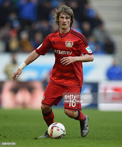 Tin Jedvaj of Leverkusen controls the ball during the Bundesliga match between 1899 Hoffenheim and Bayer Leverkusen at Wirsol RheinNeckarArena on...