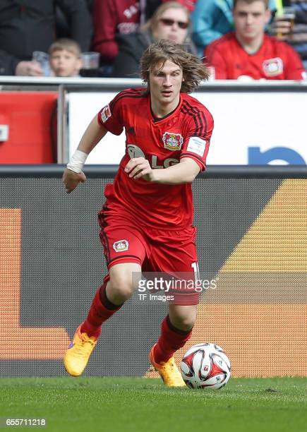 Tin Jedvaj of Leverkusen controls the ball during the Bundesliga match between Bayer 04 Leverkusen and Hamburger SV at BayArena on April 4 2015 in...