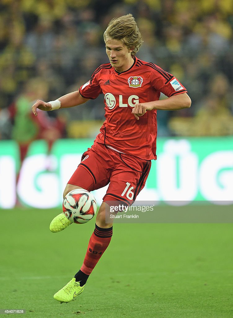 <a gi-track='captionPersonalityLinkClicked' href=/galleries/search?phrase=Tin+Jedvaj&family=editorial&specificpeople=11199650 ng-click='$event.stopPropagation()'>Tin Jedvaj</a> of Leverkusen in action during the Bundesliga match between Borussia Dortmund and Bayer 04 Leverkusen at Signal Iduna Park on August 23, 2014 in Dortmund, Germany.
