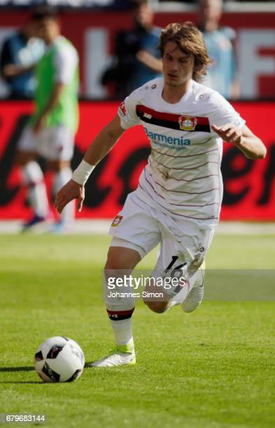 Tin Jedvaj of Leverkusen in action during the Bundesliga match between FC Ingolstadt 04 and Bayer 04 Leverkusen at Audi Sportpark on May 6 2017 in...