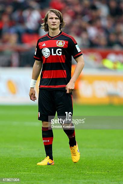 Tin Jedvaj of Leverkusen looks on during the Bundesliga match between Bayer 04 Leverkusen and 1899 Hoffenheim at BayArena on May 16 2015 in...