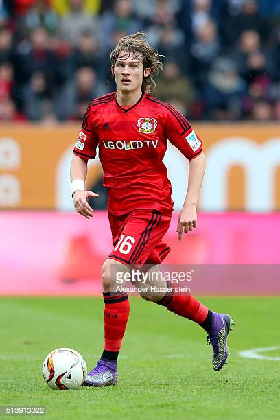Tin Jedvaj of Leverkusen runs with the ball during the Bundesliga match between FC Augsburg and Bayer Leverkusen at WWK Arena on March 5 2016 in...