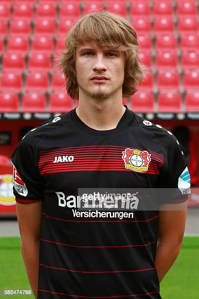 Tin Jedvaj poses during the official team presentation of Bayer Leverkusen at BayArena on July 25 2016 in Leverkusen Germany