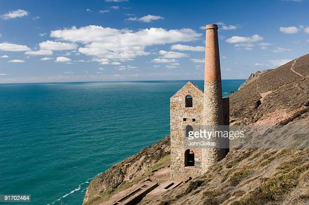 Tin mine on cliff edge, Cornwall