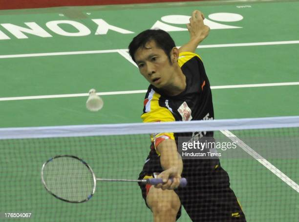 Tin Minh Nyugen of Pune Pistons in action against B Sai Praneeth of Delhi Smashers in the inaugural match of Indian Badminton League at Sirifort...