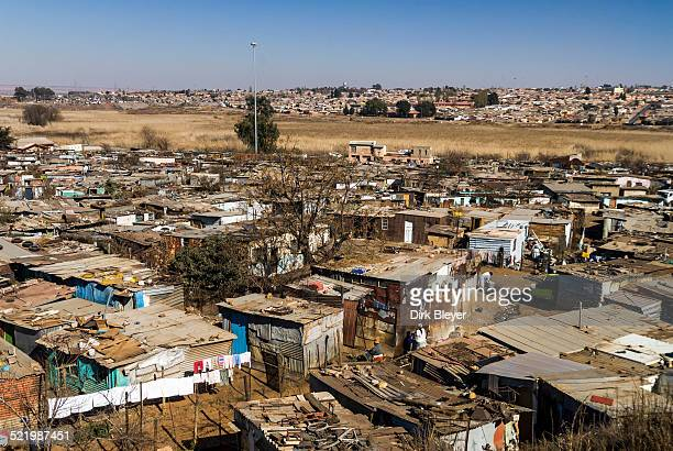 Tin shacks, Township Kliptown, Soweto, Johannesburg, Gauteng, South Africa