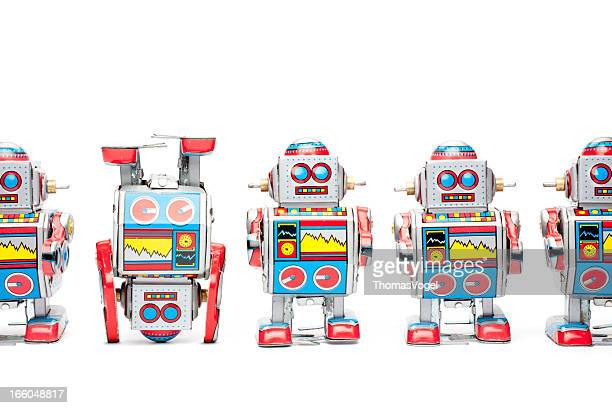 Tin toy robots - Upside down