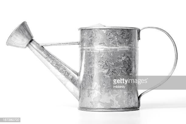 Tin watering can (clipping path), isolated on white background