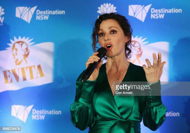 Tina Arena addresses media during the cast announcement for the upcoming production of EVITA at Sydney Opera House on August 21 2017 in Sydney...