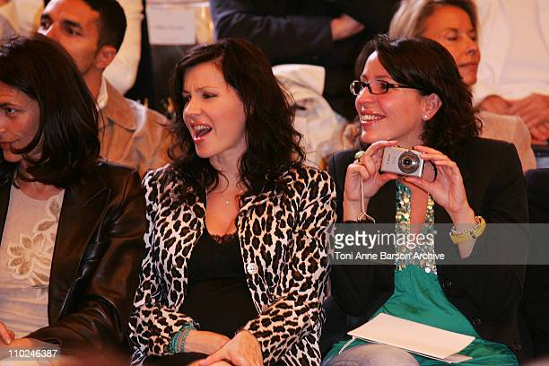 Tina Arena and sister during Paris Haute Couture Fashion Week Fall/Winter 2005 JeanLouis Scherrer Front Row at Pavillon Ledoyen in Paris France