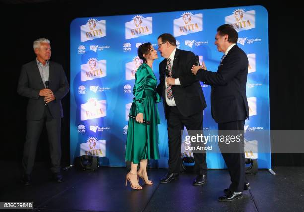 Tina Arena is introduced alongside David Ian John Frost and Lyndon Terracini during the cast announcement for the upcoming production of EVITA at...