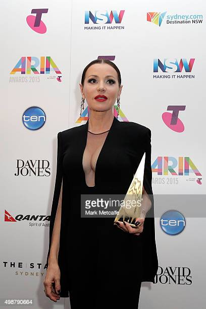 Tina Arena poses in awards room with an ARIA after being inducted into the ARIA Hall of Fame during the 29th Annual ARIA Awards 2015 at The Star on...
