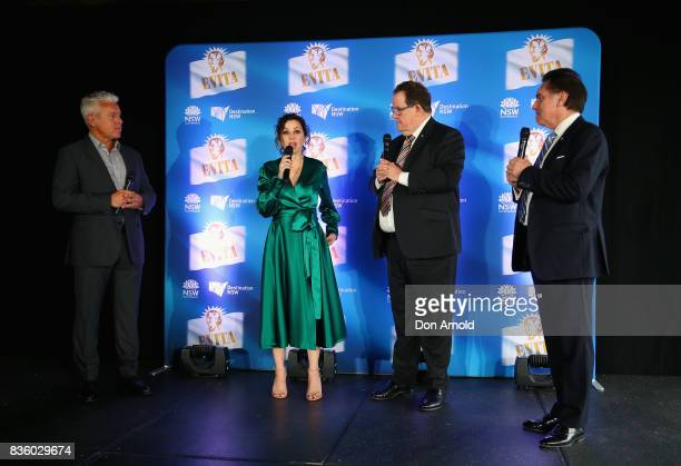 Tina Arena standing alongsie David Ian John Frost and Lyndon Terracini addresses media during the cast announcement for the upcoming production of...