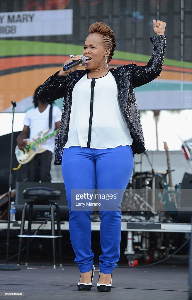 Tina AtkinsCampbell of Mary Mary performs at the 8th Annual Jazz in the Gardens Day 2 at Sun Life Stadium presented by the City of Miami Gardens on...