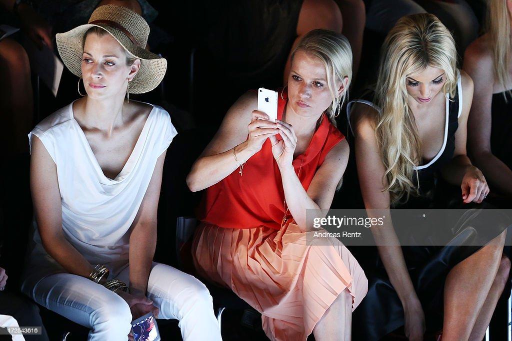 Tina Bordihn, Nova Meierhenrich and Rosanna Davison attend Minx By Eva Lutz show during Mercedes-Benz Fashion Week Spring/Summer 2014 at Brandenburg Gate on July 3, 2013 in Berlin, Germany.