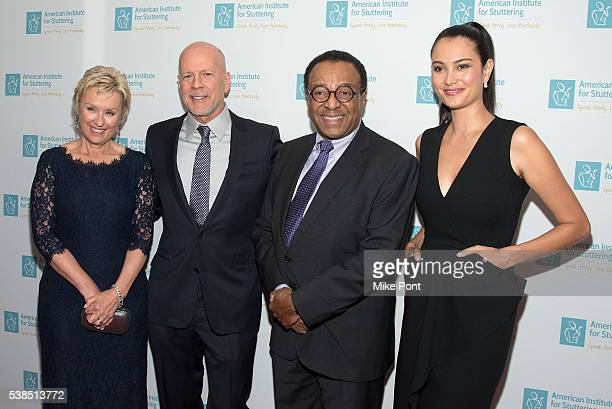 Tina Brown Bruce Willis Clarence Page and Emma Heming attend the 10th Annual American Institute For Stuttering Freeing Voices Changing Lives Gala at...