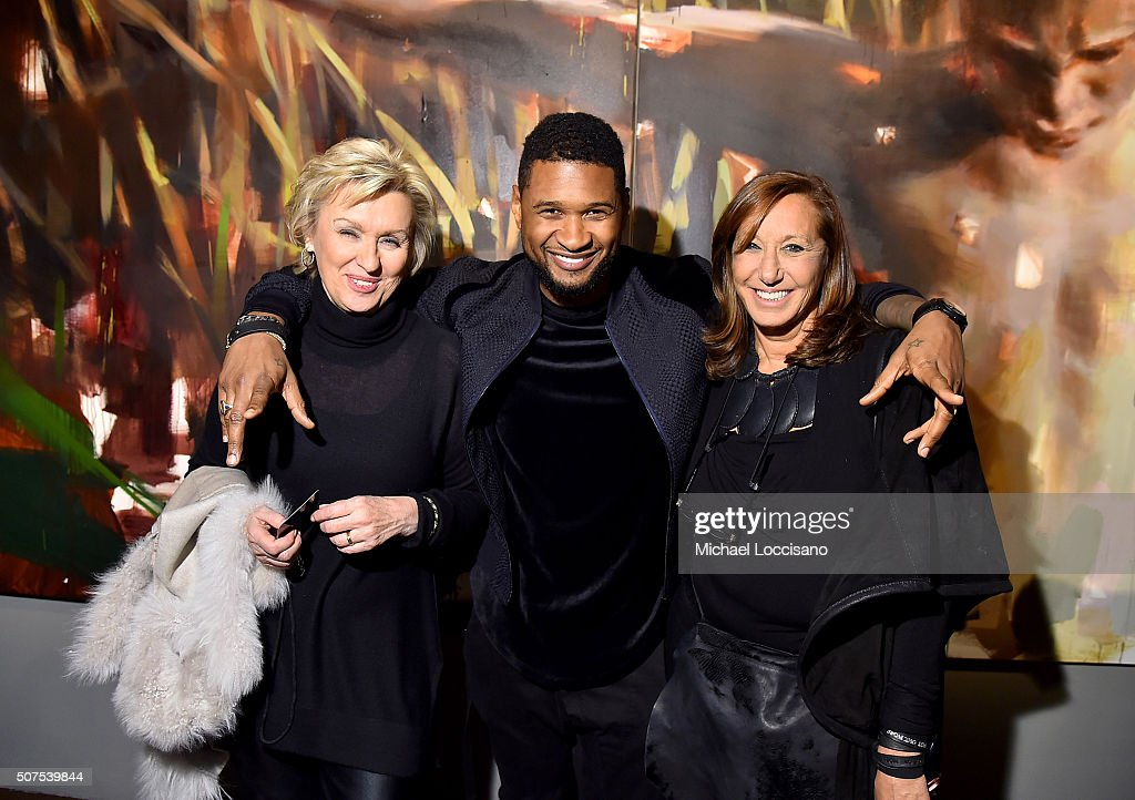 Tina Brown, Usher and designer Donna Karan attend Art For Social Justice, Usher Raymond IV, Daniel Arhsam and TIDAL debut Chains at Urban Zen on January 29, 2016 in New York City.