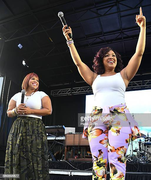 Tina Campbell and Erica Campbell of Mary Mary perform on stage at Praise 1025 Praise In The Park at Centennial Olympic Park on August 6 2016 in...