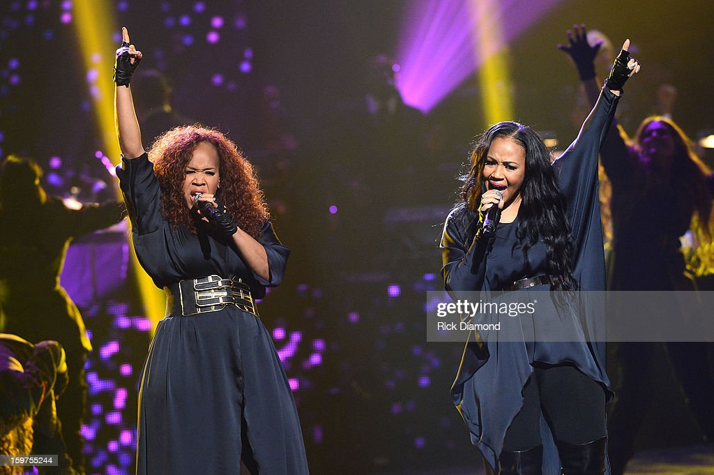 Tina Campbell and <a gi-track='captionPersonalityLinkClicked' href=/galleries/search?phrase=Erica+Campbell&family=editorial&specificpeople=827874 ng-click='$event.stopPropagation()'>Erica Campbell</a> of Mary Mary perform on the 28th Annual Stellar Awards Show at Grand Ole Opry House on January 19, 2013 in Nashville, Tennessee.