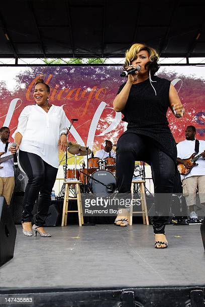 Tina Campbell and Erica Campbell of Mary Mary performs during the Chicago Gospel Festival in Chicago Illinois on JUNE 24 2012