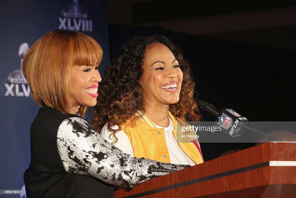 Tina Campbell (L) and <a gi-track='captionPersonalityLinkClicked' href=/galleries/search?phrase=Erica+Campbell&family=editorial&specificpeople=827874 ng-click='$event.stopPropagation()'>Erica Campbell</a> of the gospel duo Mary Mary attend the Super Bowl Gospel Celebration Concert Press Conference at Super Bowl XLVIII Media Center, Sheraton Times Square on January 30, 2014 in New York City.