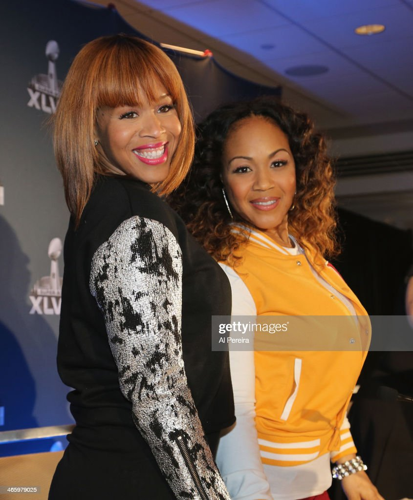 Tina Campbell (L) and Erica Campbell of the gospel duo Mary Mary attend the Super Bowl Gospel Celebration Concert Press Conference at Super Bowl XLVIII Media Center, Sheraton Times Square on January 30, 2014 in New York City.